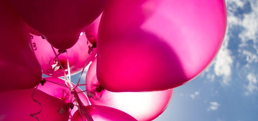 Vejigas rosadas con el cielo al fondo de la foto.